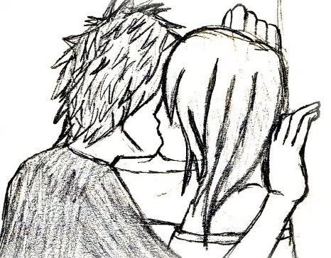 Kissing couple pencil art by ii celestialabyss