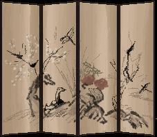 Meiji-era Style Folding Screen by Ginkage