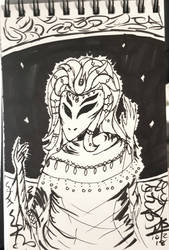 Inktober Day 2 - The Alien Empress  by Ginkage