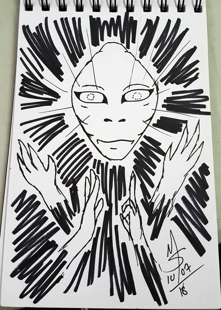 Inktober Day 7 - The Sentient Being  by Ginkage