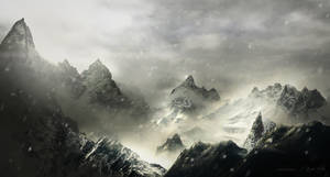 misty mountains - matte painting