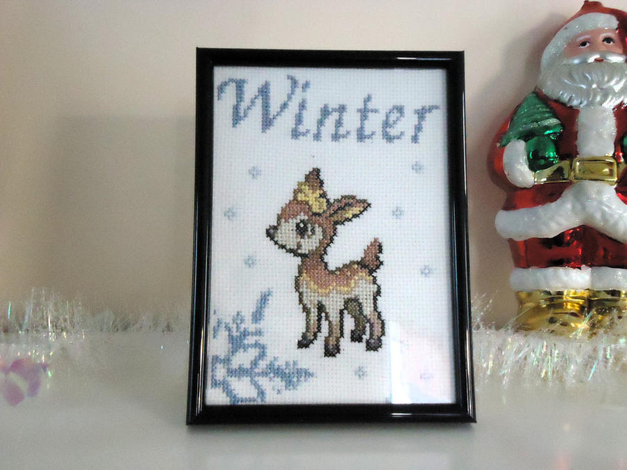 Cross stitch Winter Deerling by Miloceane