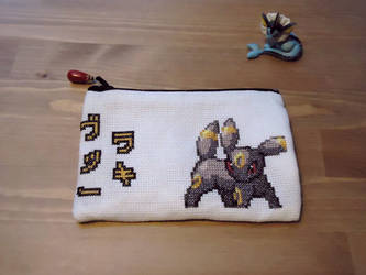 Cross stitch Umbreon pencil case by Miloceane