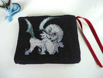Cross stitch Absol hard drive protection case by Miloceane