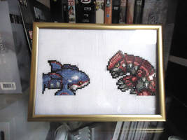 Cross stitched Kyogre and Groudon