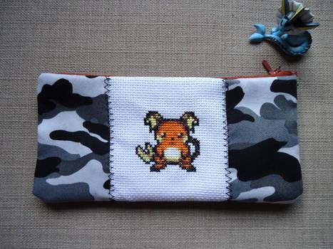 Cross stitch Raichu pencil case