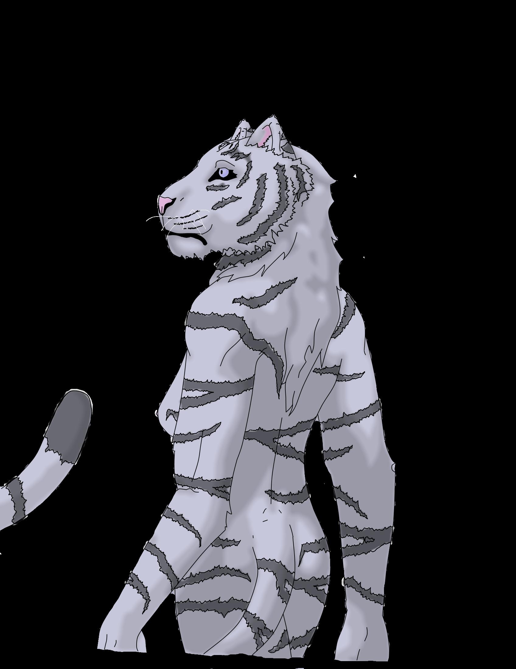 Anthro white tigress - photo#1