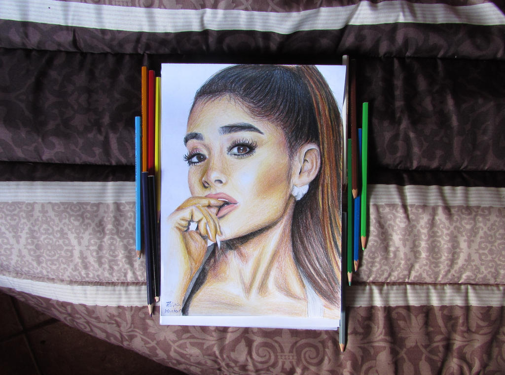 Drawing ariana grande with color pencils by flaviarcmonteiro