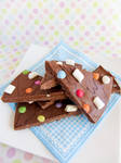 Chocolate Bark with Marshmallows and Smarties