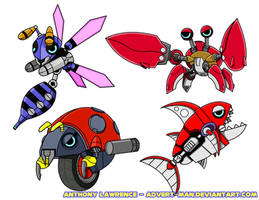 Motobug, Buzz Bomber, Crabmeat and Chopper by Advert-man