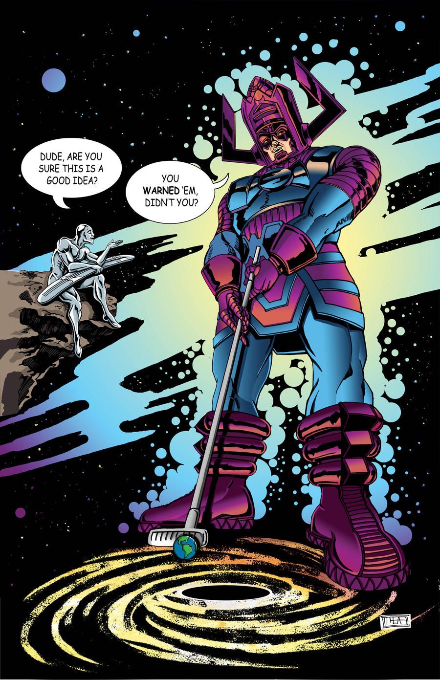 Galactus Plays Minigolf by Theamat