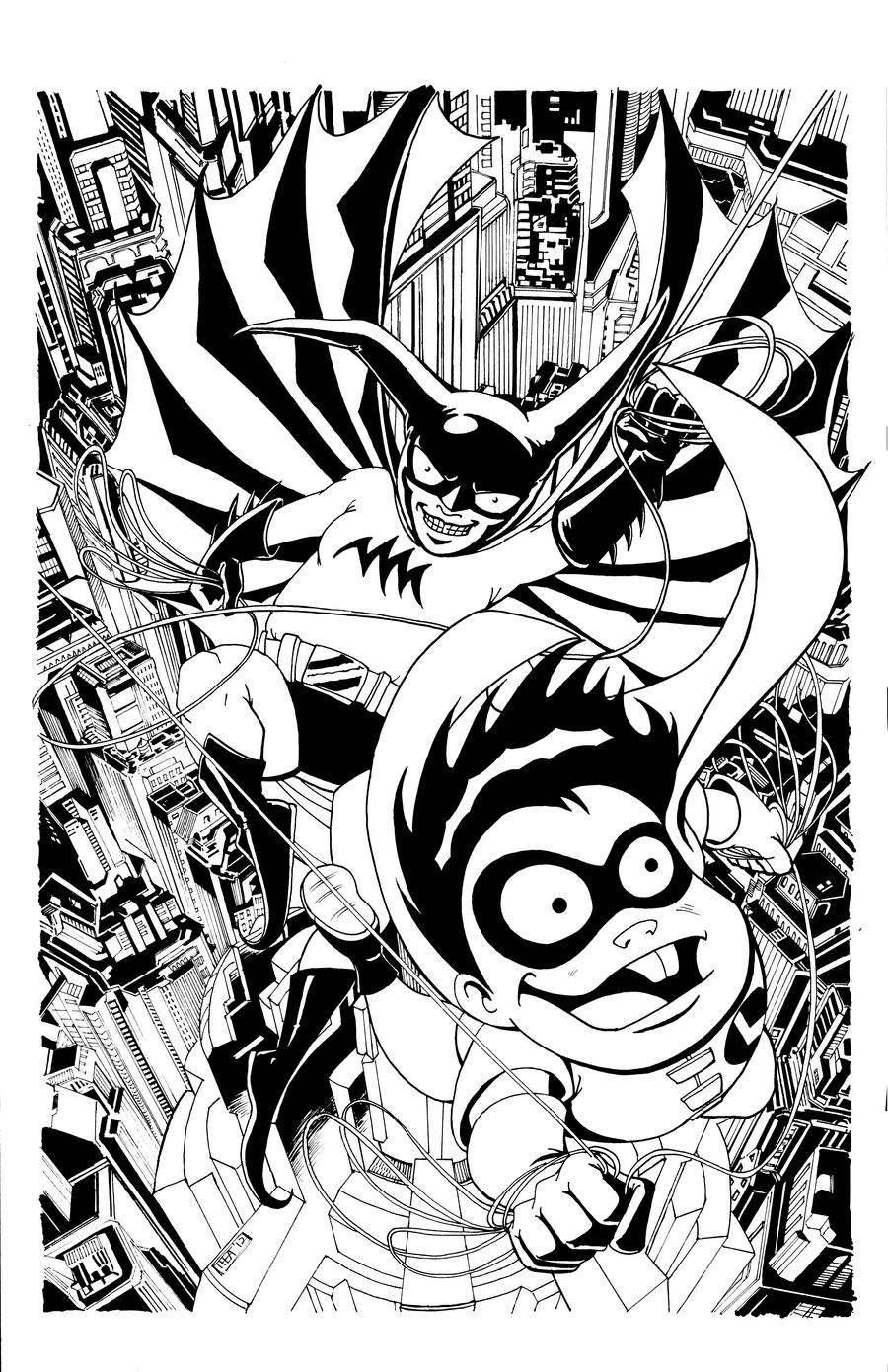 Bat-Mite and Larry INKS by Theamat