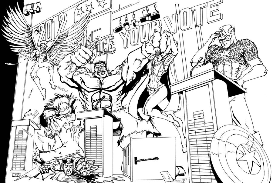 Avengers VS X-Men: GOP Debate INKS by Theamat