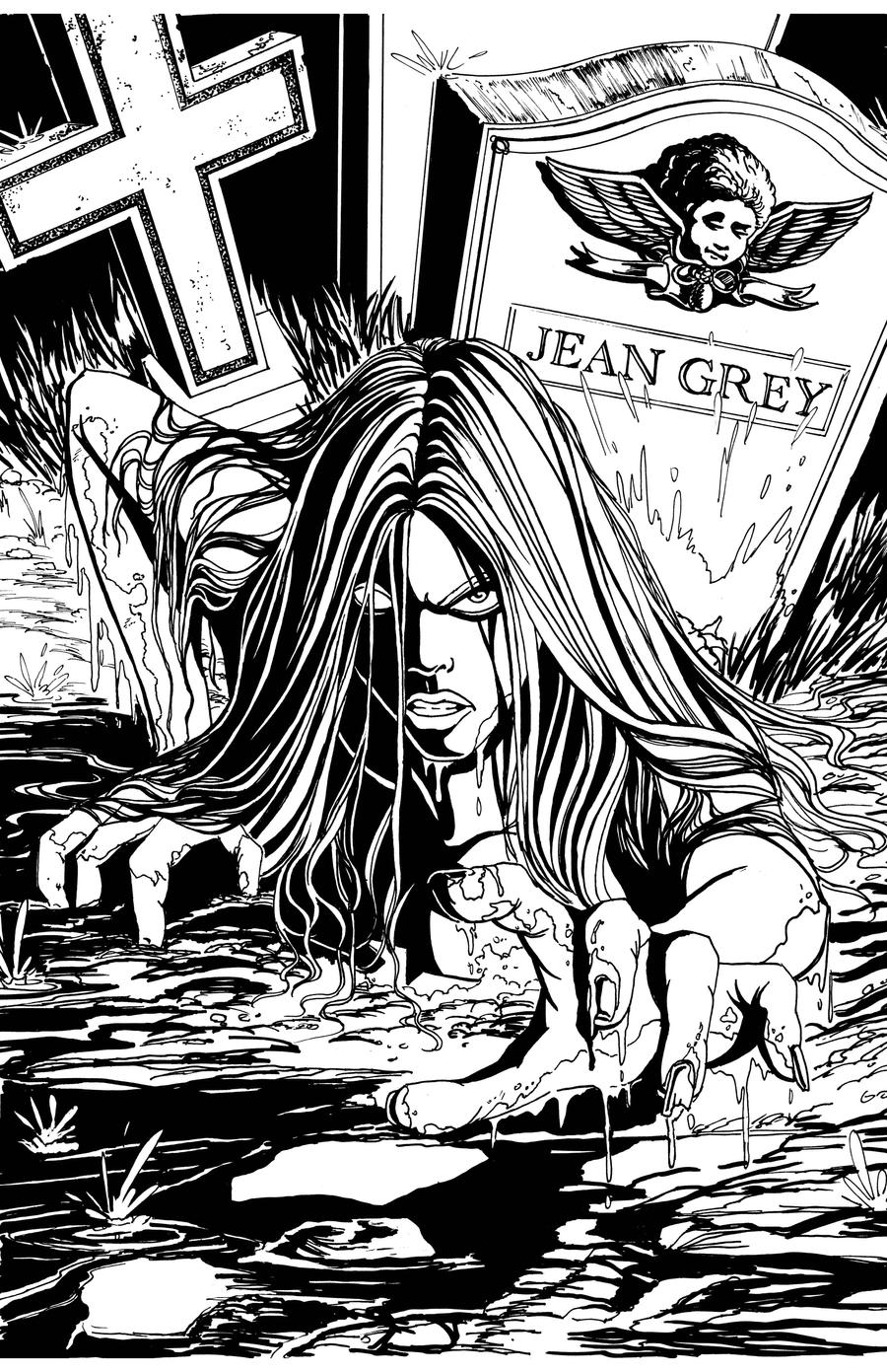 Jean Grey/Resurrection Man INKS by Theamat