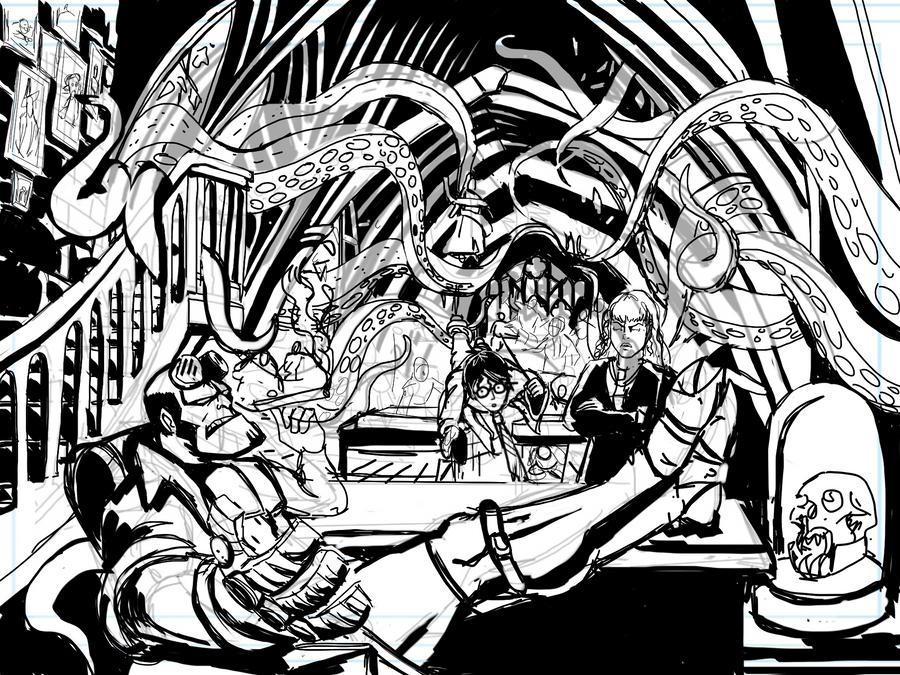 Professor Hellboy - SKETCH by Theamat