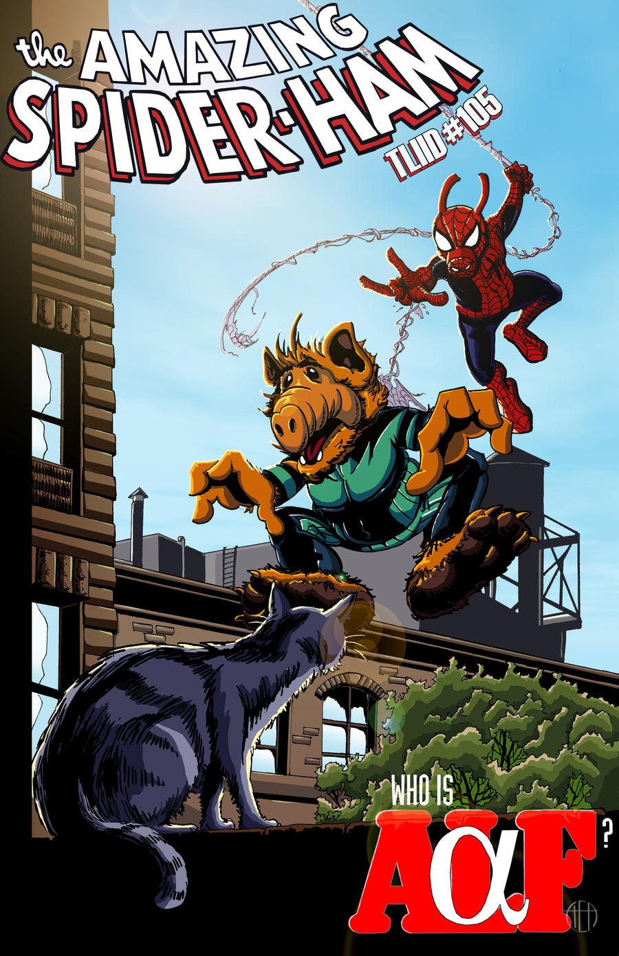 Spider-Ham and ALF-a by Theamat