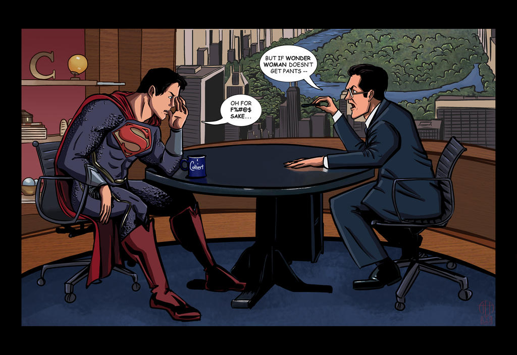 Stephen Colbert and the Man of Steel by Theamat