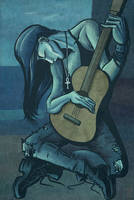 Death, the Old Guitarist by Theamat