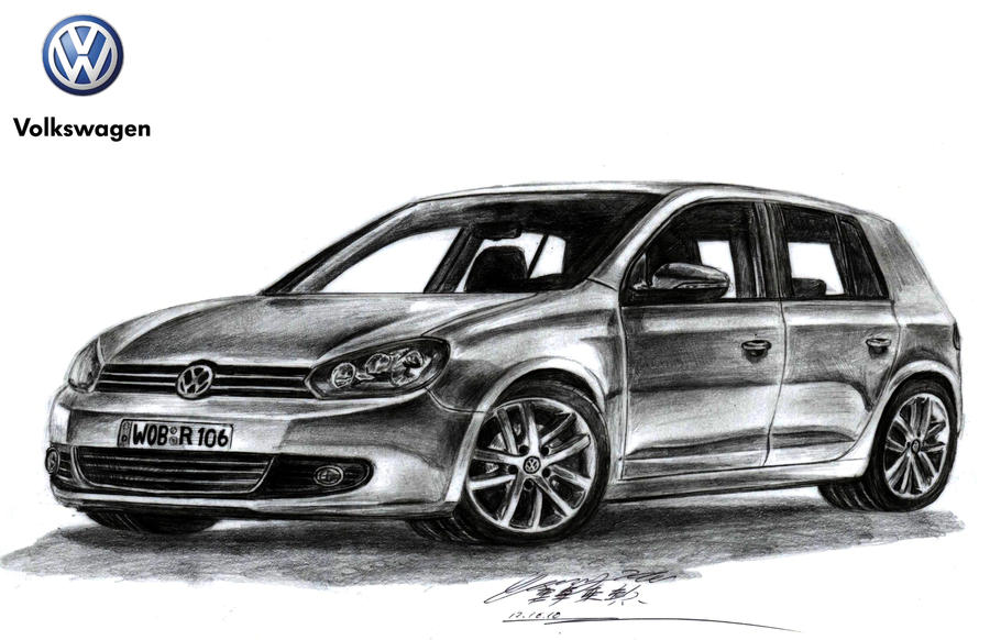 volkswagen golf gtd drawing by toyonda