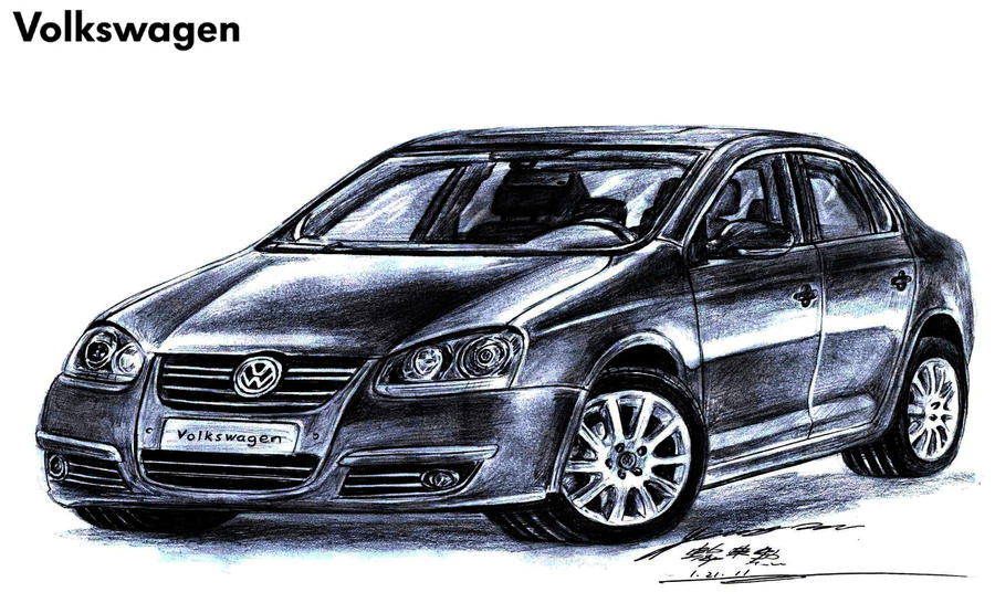 volkswagen jetta 16 tdi premium sport drawing by toyonda