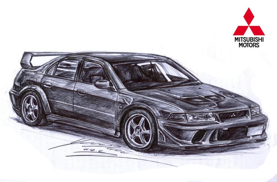 Mitsubishi Lancer Evolution 5 Gsr Drawing By Toyonda On Deviantart