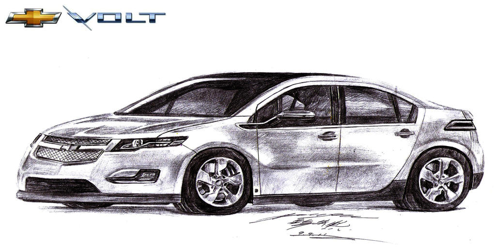 electric masterpiece  chevrolet volt drawing by toyonda on