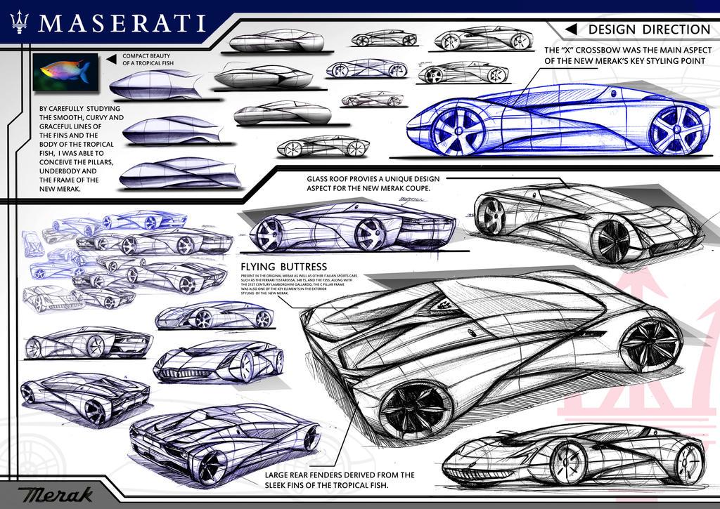 Initial Sketch Maserati Merak Concept by toyonda