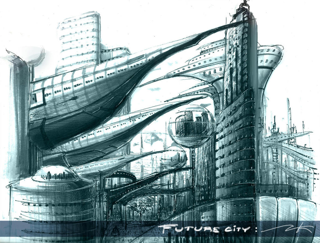 Sketch Future City By Krisedge On DeviantArt