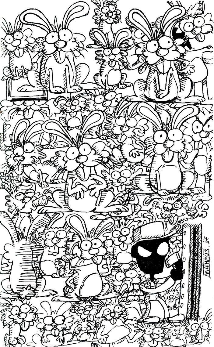Bunnies and a weird dude by Matheus019