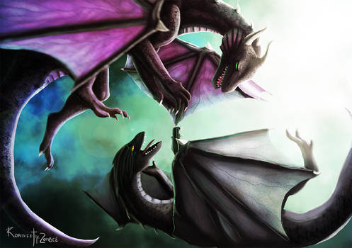 Learning to Fly. Dragons digital painting