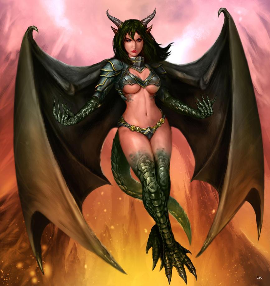 naked girl with dragon