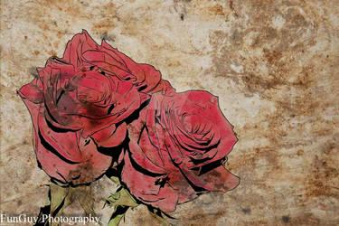 Three Roses On Damaged Paper