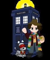 4th Doctor and TARDIS by PhantomStarStudio