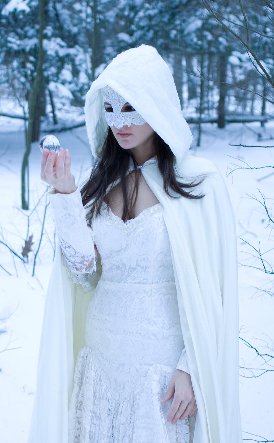 lace, snow, crystal hood lack by eyefeather-stock