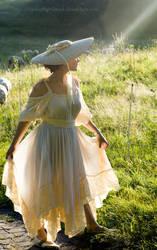 summer sunbeam in straw hat