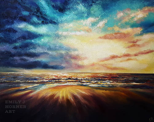 Colourful Seascape with Cloudy Skies