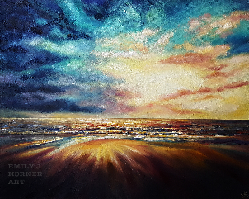 Colourful Seascape with Cloudy Skies by emilyjhorner