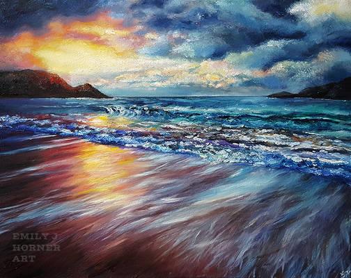 Sunset Shore, Colourful Seascape