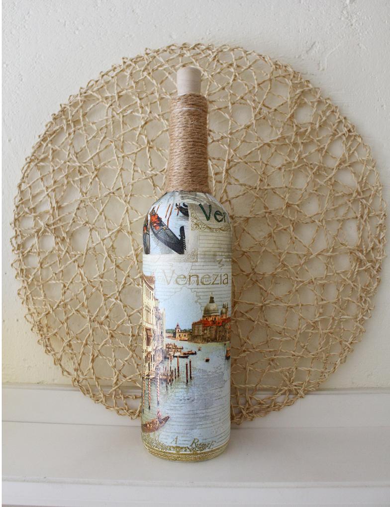 Bottle Decoupage Venice tutorial YT by Kasia1989