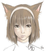 Miqote sketch by vixyl