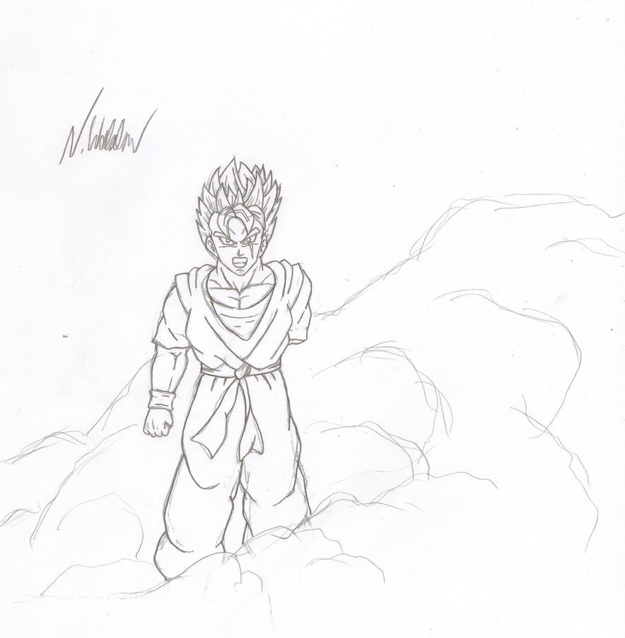 Future Gohan sketchysketchsketch by nial-09