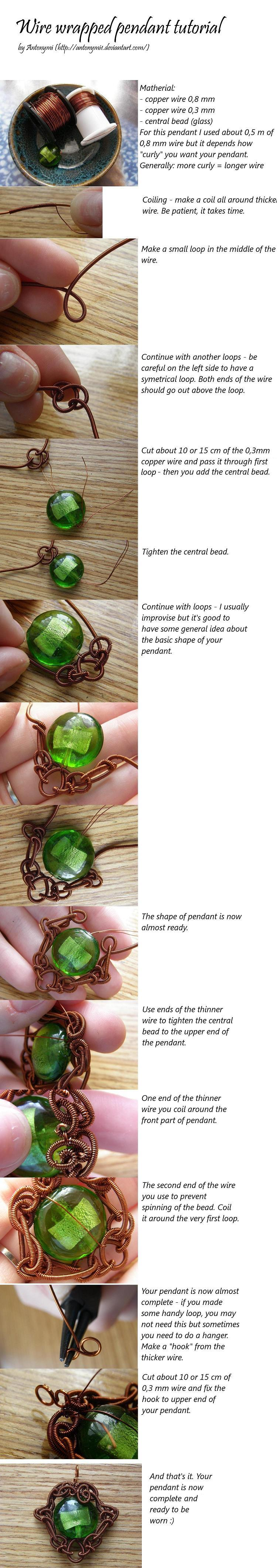 Wire wrapped pendant tutorial by Antonymi1