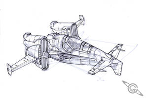 Lunar Fighter Sketch by MeckanicalMind