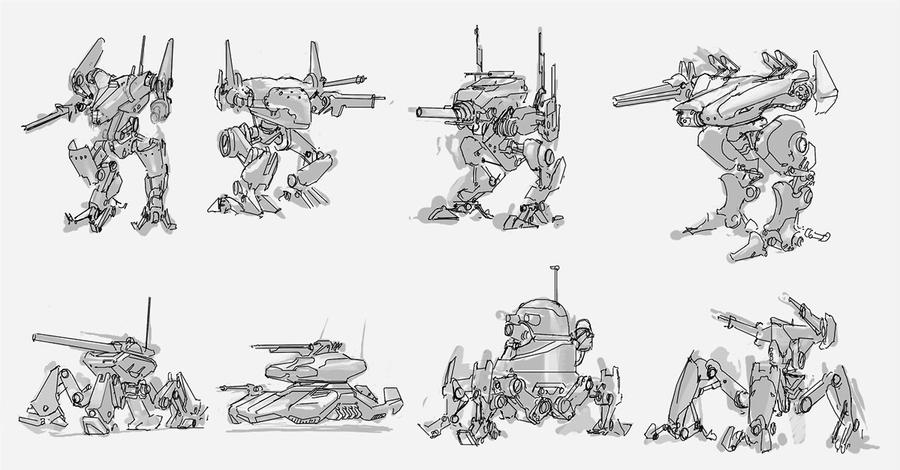 how to draw a simple mech