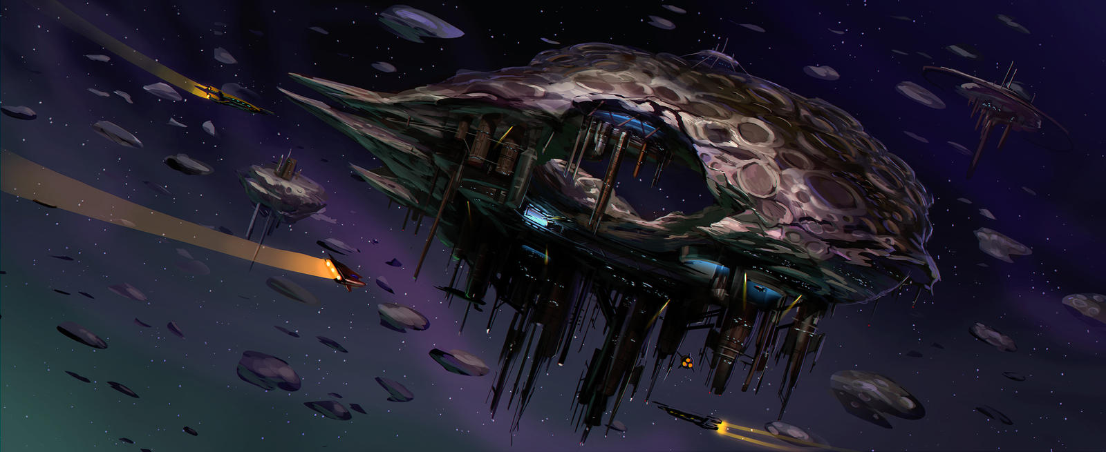 Space Pirate Asteroid Base by MeckanicalMind