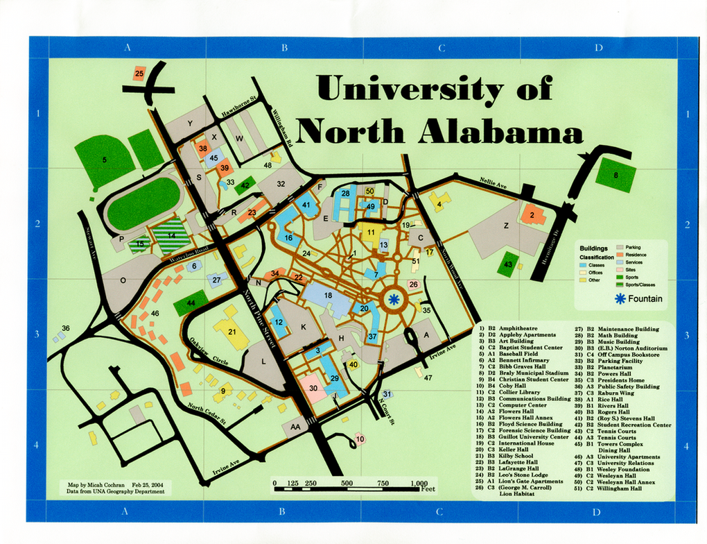 U Of North Alabama Campus Map By Micahcochran On DeviantArt - U of a campus map