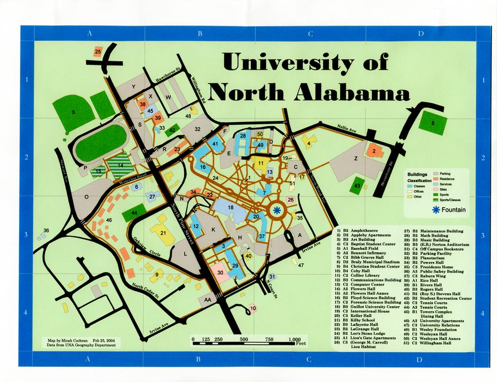U Of North Alabama Campus Map By Micahcochran On DeviantArt