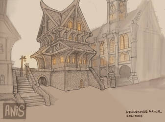 Architectural Sketch - Proudspire Manor, Solitude by Bloody-crackerjack
