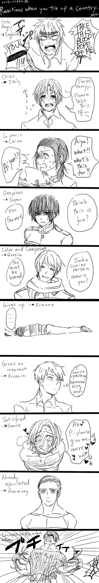 Reactions of the countries when you tie them up. by janikol