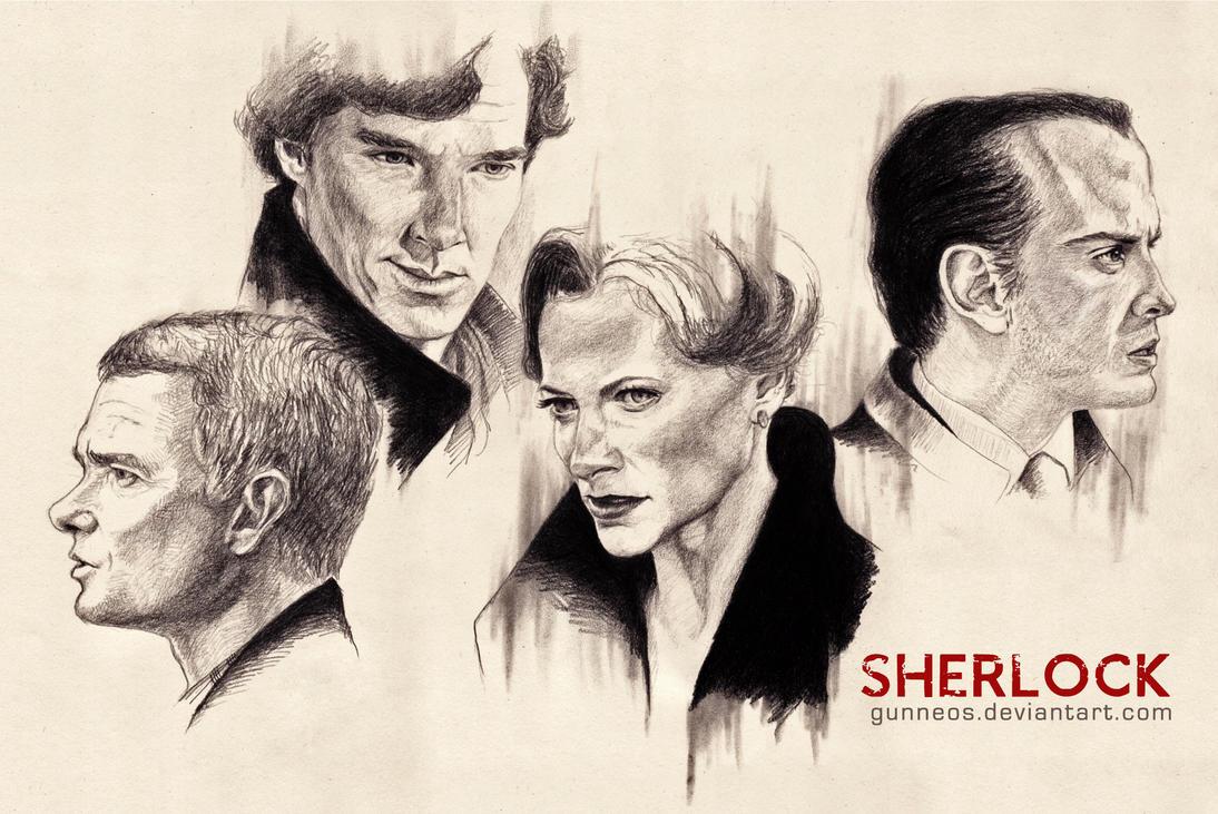 bbc sherlock by gunneos fan art traditional art drawings movies tv    Bbc Sherlock Drawing
